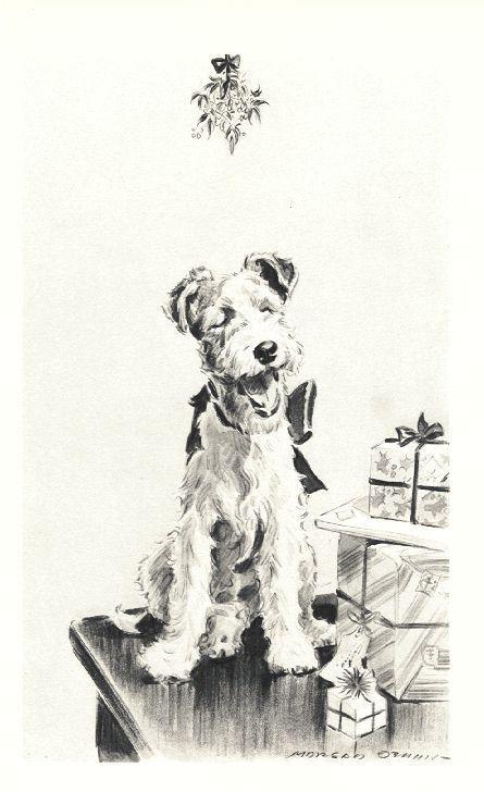 "Xmas Wire Fox Terrier - Dog Art Print - M. Dennis ""N"""