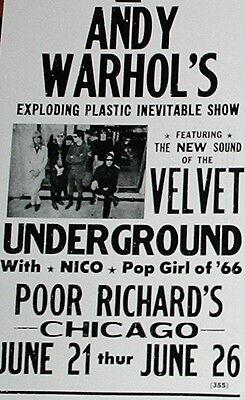 """Andy Warhol Velvet Underground Concert Poster 1966 w/ Nico in Chicago 14""""x22"""""""