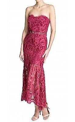 Neu Marchesa Notte Trägerlos Spitzenkleid Jeweled Kristalle Preiselbeere Rot auf Jeweled Kleid