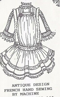 "15-16""ANTIQUE GERMAN-FRENCH HAND SEWING by machine JUMEAU/BRU DOLL DRESS PATTERN"