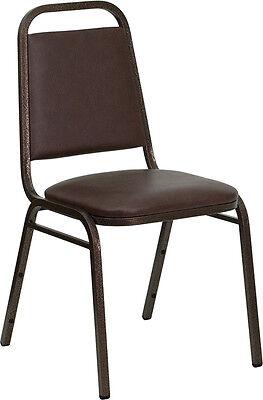 Brown Vinyl Banquet Conference Copper Vein Steel Frame Stack Chair
