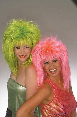 Womens Lime Green Wig Fringe Eighties Rocker Rock Star Tinsel Bangs Big Hair