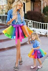 Mother and daughter tutu rainbow colours
