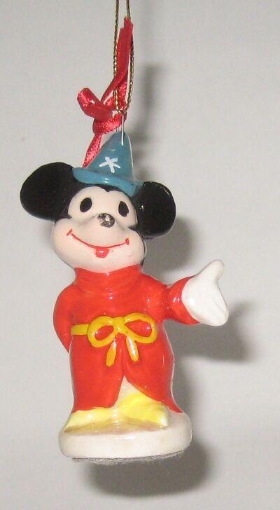 VTG Mickey Mouse Sorcerer Ceramic Christmas Ornament WD Productions JAPAN +BONUS
