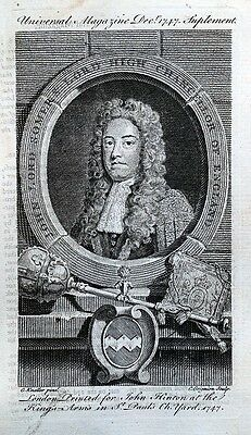 JOHN SOMERS LORD HIGH CHANCELLOR OF ENGLAND antique portrait print 1747