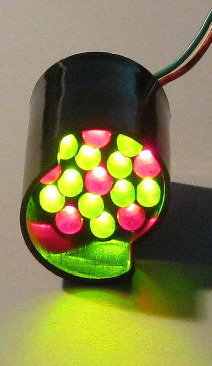 16 LED Cluster Module - Super Bright Red and Green LED Cluster 12 V - 26mm Case