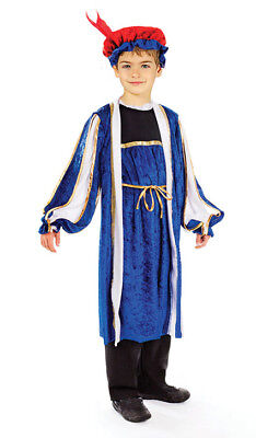 Boys Xmas King Prince Costume Medieval Tudor Henry Fancy Dress Outfit & Hat 7-10