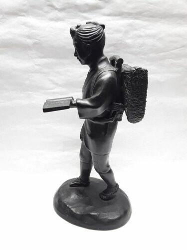Japanese Bronze okimono of a Walking Boy reading
