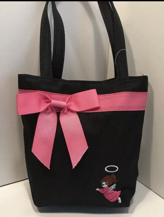Little Girl's Black And Pink Purse or Tote With Angel