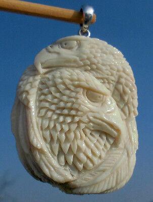 Zwei Adler - Horn geschnitzt - Anhänger Silber 925