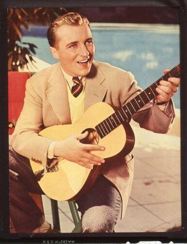 BING CROSBY Crooner Guitar Original Vintage 4x5 Color Portrait TRANSPARENCY