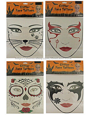 HALLOWEEN* Temporary FACE TATTOOS Costume Accessory FOR WOMEN New! *YOU CHOOSE* (Temporary Tattoos For Halloween)