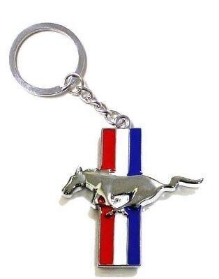 Mustang Chrome Pony Horse Key Chain Fob Ring Keychain GT 500 Cobra Roush Saleen Mustang Key Ring