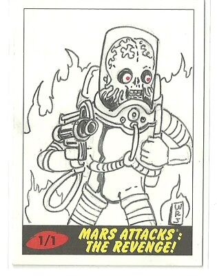 2017 Topps Mars Attacks The Revenge ! Martian Sketch Card by Wilson Ramos (A)