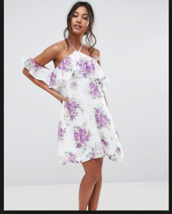 Boohoo Floral Cold Shoulder Ruffle Swing Dress