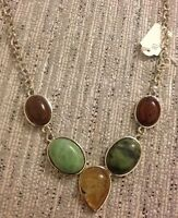 Boho Natural Stone Gem Short Silver Look Necklace •cute Blogs Uk Gift Present - handmade - ebay.co.uk
