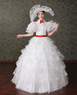 Gone with the wind Scarlett O'hara white dress gown Civil War cosplay costume