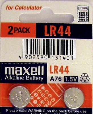 LR44 Maxell (2 piece) LR44 MAXELL A76 L1154 AG13 357 New Alkaline Battery