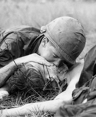 Vietnam War US Army Medic Attempting To Revive Wounded Soldier 8.5x11 Rare Photo