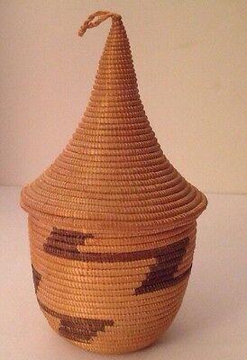 """Vintage Tutsi Watusi African Rwanda Lidded Basket Coiled Pointed Cone Lid 4.25"""""""