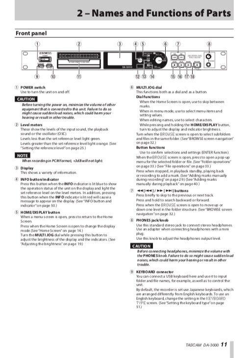 Tascam DA-3000 2ch Audio Recorder AD/DA Converter OWNER S MANUAL - $19.95