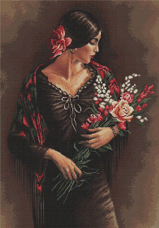 Spanish Lady With Bouquet Cross Stitch Kit