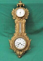 19th Century Gilt Cast Iron French Clock Barometer Refurbished - 8 Day Clock