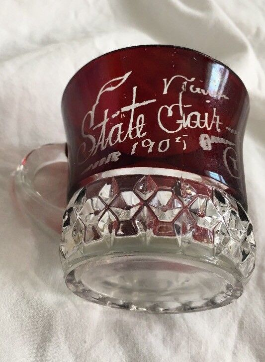1905 State Fair Souvenir Ruby Red Flash Glass Cup Name or Month ... May
