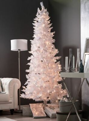 7' White Spruce Pre-Lit Clear Christmas Tree