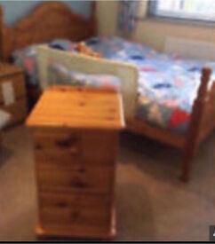 Harvest Solid Pine Wooden Double Bedframe Chest Drawers Bedside Cabinet