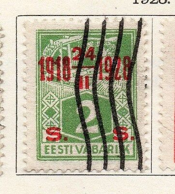 Estonia 1928 Early Issue Fine Used 2s. Optd 087890