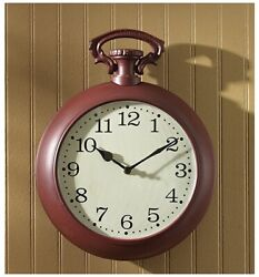 """Park Designs New Hope Pocket Watch Wall Clock, Red, 10"""" Dia"""