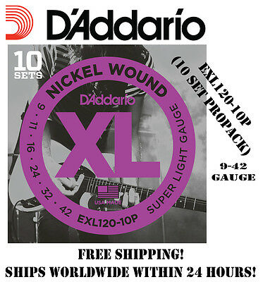 **10 SETS D'ADDARIO EXL120 ELECTRIC GUITAR STRINGS (NICKEL) EXL120-10P PROPACK**