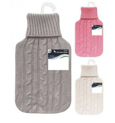 2L Litre Large Hot Water Bottle Quality Hot Water Bottles With Knitted Cover