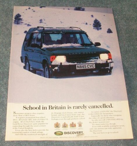 """1996 Land Rover Discovery 4x4 Vintage Ad """"School in Britain is Rarely Cancelled"""""""
