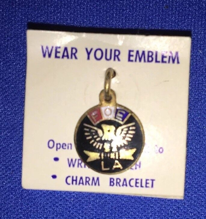 "Vintage never worn CHARM EMBLEM .5"" F O E with LA original packaging"