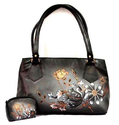 Exclusive Genuine Leather Shantiniketan Hand Painted Handbag With Coin Purse