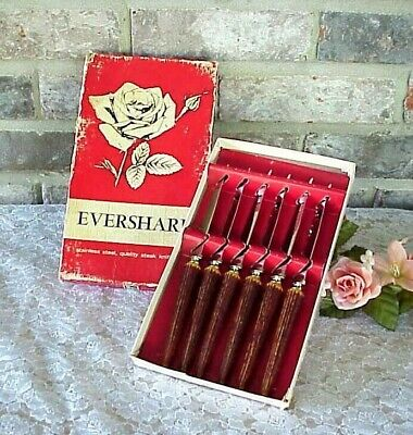 Vintage Eversharp Steak Knives Stainless Steel (6) Box New? Cutlery Serrated