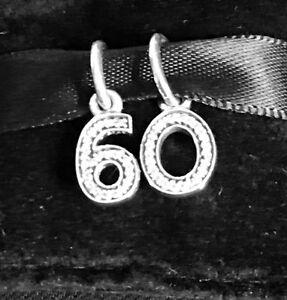 Genuine PANDORA Silver 60 Birthday Charm Set With Pandora Pouch
