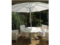 Garden table chairs & parasol