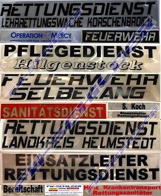 NOTARZT Reflex Rückenschild weiß, reflektierend, 42x8cm, Wunschtext, einzeilig