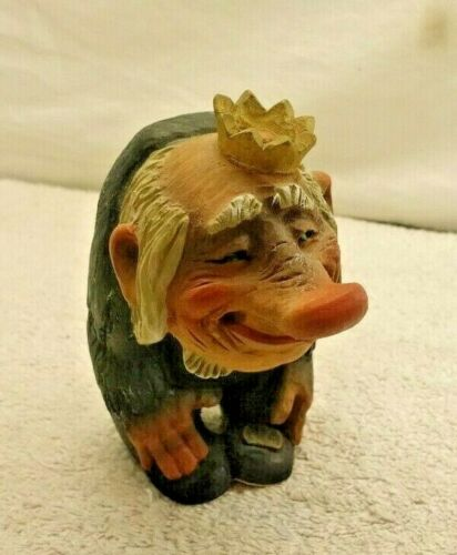 HENNING NORWAY HAND CARVED WOOD TROLL KING