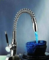Kitchen Pull Out And Swivel Sink Mixer Tap Vessel Brass Led Faucet Chrome Gf457 - ouboni - ebay.co.uk
