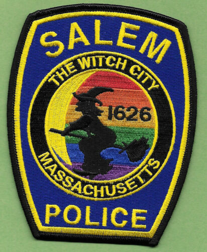SALEM MASS MA POLICE NEW RAINBOW PATCH THE WITCH CITY WITCH BROOM DEPT ISSUED