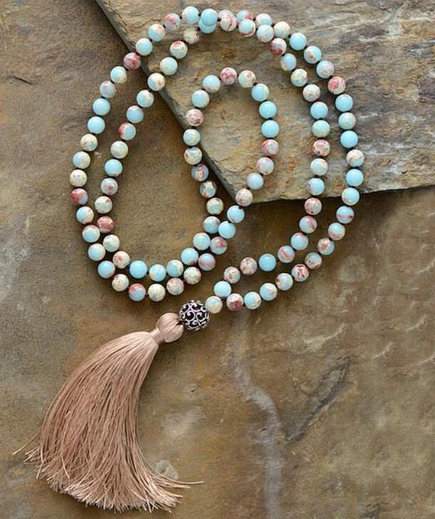 Handmade yoga elegant Lucky 8mm imperial jasper 108 Mala Tassels knot Necklace
