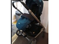 Joie chrome baby pram with carrycot in jade