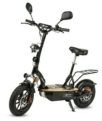 Patinete electrico 1200w plegable scooter patin sillin plataforma madera negro