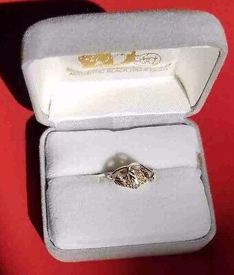 BLACK HILLS GOLD PINKIE/TOE RING 12K 3 LEAVES/GRAPES w/SILVER BAND Holiday Gifts