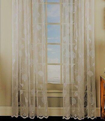 Reef Seashells sheer Lace curtains Ivory -  Panels, Valances - {Brand NEW} - Ivory Lace Valance