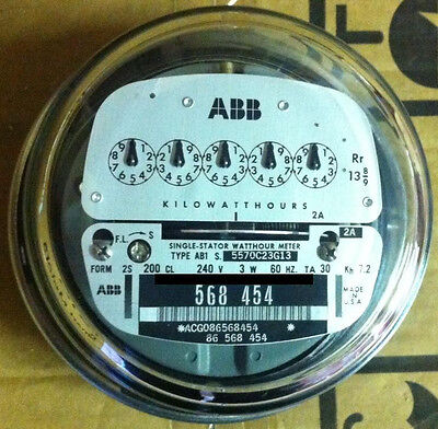 Abb Watthour Meter Kwh Ab1 5 Pointer Style 4 Lugs 240v 200a Fm 2s
